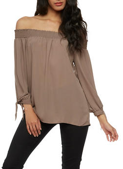 Solid Off the Shoulder Crepe Knit Top - 3401054213857