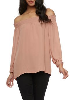Solid Off the Shoulder Crepe Knit Top - DARK PINK - 3401054213857