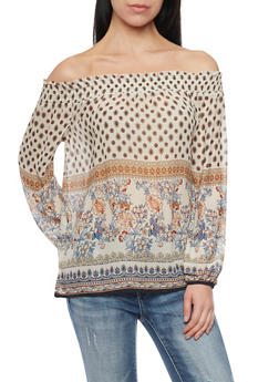 Paisley Print Off the Shoulder Top - 3401054213865