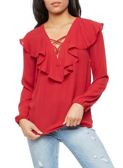 Long Sleeve Ruffle Blouse with Caging - 3401054213908
