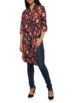 Floral Tab Sleeve Tunic Top - 3401054214218