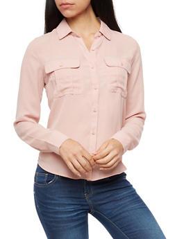 Solid Long Sleeve Basic Blouse - NEW MAUVE - 3401054214301