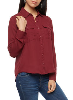 Solid Long Sleeve Basic Blouse - NEW WINE - 3401054214301