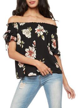 Floral Crepe Knit Off the Shoulder Top - 3401054214314