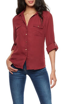 Gold Button Rolled Sleeve Blouse - BURGUNDY2 - 3401054216211