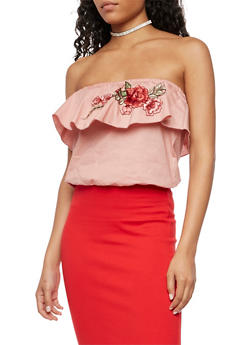 Tube Top with Rose Applique - 3401054265018
