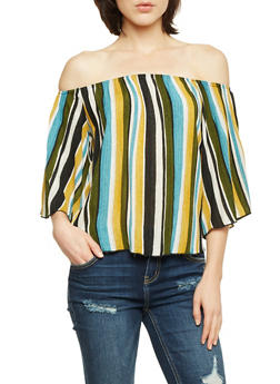 Off the Shoulder Top in Stripes - 3401058601512