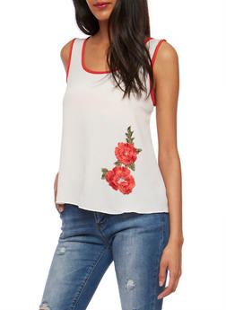 Soft Knit Tank Top with Flower Patch - 3401058601588