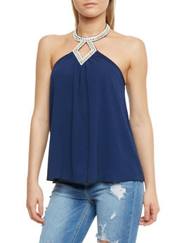 Sleeveless Jewel Neck Halter Top - 3401058601597