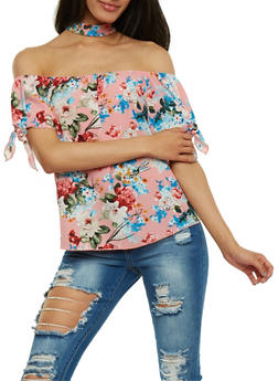 Floral Off the Shoulder Choker Top - 3401058601602