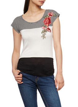 Striped Color Block T Shirt with Flower Patch - 3401058602228