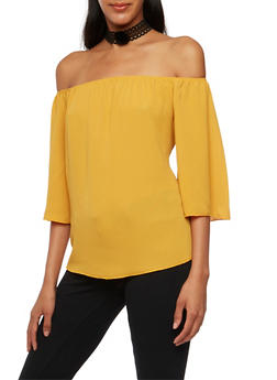 Off The Shoulder Top and Removable Choker - MUSTARD - 3401058604775