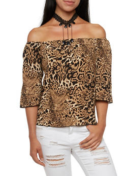 Off The Shoulder Top with Removable Crystal Choker Necklace - 3401058604901