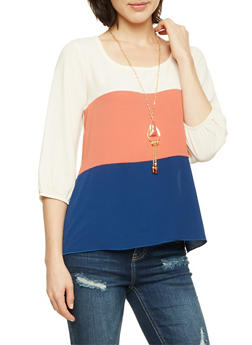 Color Block Top with Removable Necklace - 3401058605024