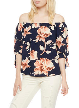 Floral Off the Shoulder Top with Tie Sleeves - 3401058605121