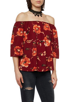 Floral Off the Shoulder Top with Choker Necklace - 3401058605216