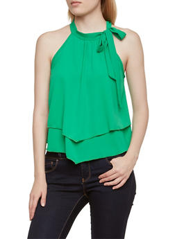 Textural Tiered Top with Shouler Ties - 3401058609195