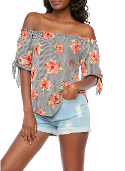 Floral Striped Off the Shoulder Peasant Top - 3401061350150