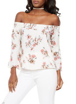 Floral Bell Sleeve Off the Shoulder Top - 3401061350326