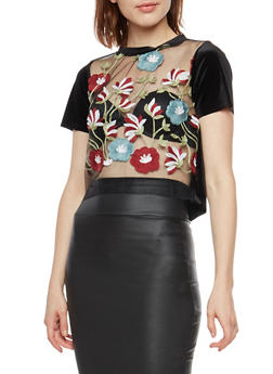 Floral Embroidered Mesh Velvet Top - 3401061353446