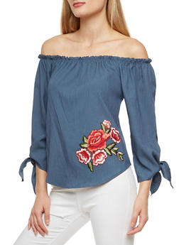 Rose Patch Off the Shoulder Top - 3401061353773
