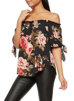 Floral Tie Sleeve Off the Shoulder Top - 3401061354535