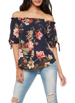 Floral Tie Sleeve Off the Shoulder Top - 3401061354535