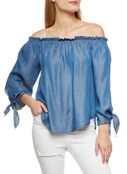 Off the Shoulder Chambray Top with Tie Sleeves - 3401061355350