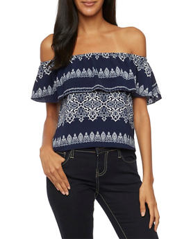 Off The Shoulder Top in Paisley Print - 3401061357632