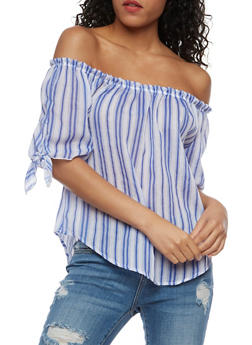Off the Shoulder Top with Tie Sleeves - WHITE BLUE - 3401061359797