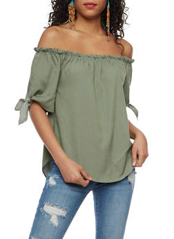 Off the Shoulder Top with Tie Sleeves - 3401061359797