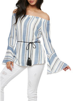 Striped Off the Shoulder Top with Bell Sleeves - 3401062701594