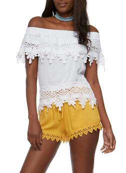 Off the Shoulder Gauze Knit Top with Crochet Trim - 3401062705358