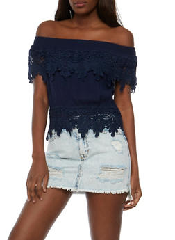 Off the Shoulder Gauze Knit Top with Crochet Trim - 3401062705358