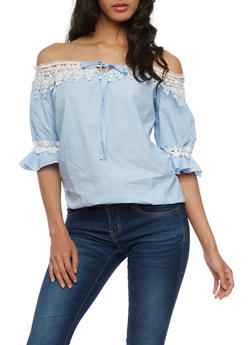 Striped Off the Shoulder Crochet Trim Peasant Top - 3401062705359