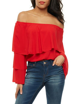 Off the Shoulder Tiered Overlay Top - 3401062705364