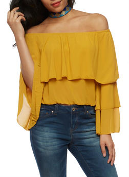 Off the Shoulder Tiered Overlay Top - MUSTARD - 3401062705364