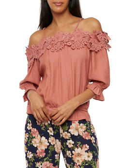 Off the Shoulder Crochet Top - 3401062705377