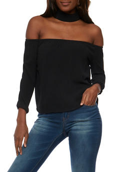 Crepe Knit Off the Shoulder Choker Top - 3401062705401