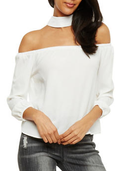 Crepe Knit Off the Shoulder Choker Top - OFF WHITE - 3401062705401