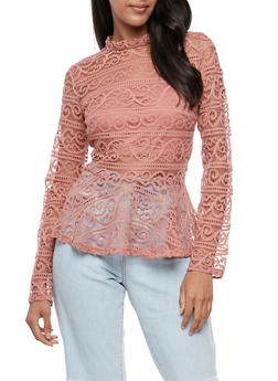 Long Sleeve Lace Peplum Top - 3401062705403