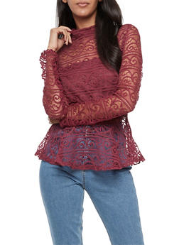 Long Sleeve Lace Peplum Top - 3401062705403