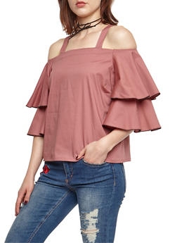 Cold Shoulder Tier Sleeve Top - 3401062705404