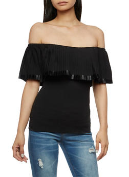 Pleated Off the Shoulder Top - 3401062705406