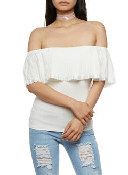 Pleated Off the Shoulder Top - IVORY - 3401062705406
