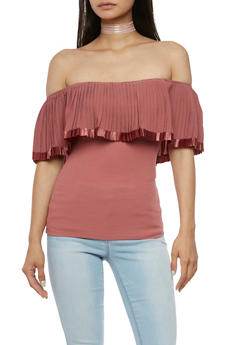 Pleated Off the Shoulder Top - MAUVE - 3401062705406