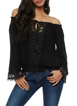 Off the Shoulder Tassel Tie Top with Crochet Details - 3401062705407