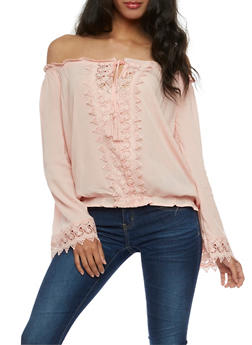 Off the Shoulder Tassel Tie Top with Crochet Details - PINK - 3401062705407