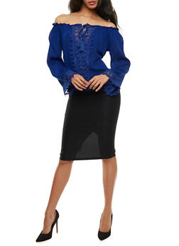 Off the Shoulder Tassel Tie Top with Crochet Details - 3401062705407