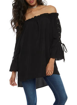 Off the Shoulder Tunic Top with Lace Up Sleeves - BLACK - 3401062705411